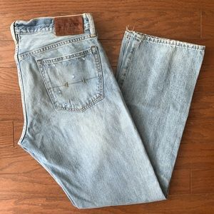Polo RL 32 / 32 Men's Light Wash Distressed Jeans